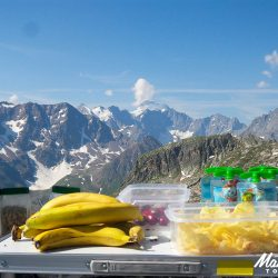 Snack table at the summit of the Galibier with Marmot Tours.