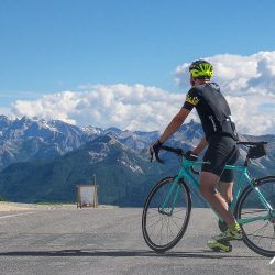 pausing to appreciate the views before descending the Izoard on the Marmot Tours raid alpine road cycling holiday.