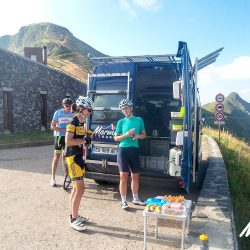 Stopping for a snack at the summit of the Pas de Peyrol on the Raid Massif Central with Marmot Tours