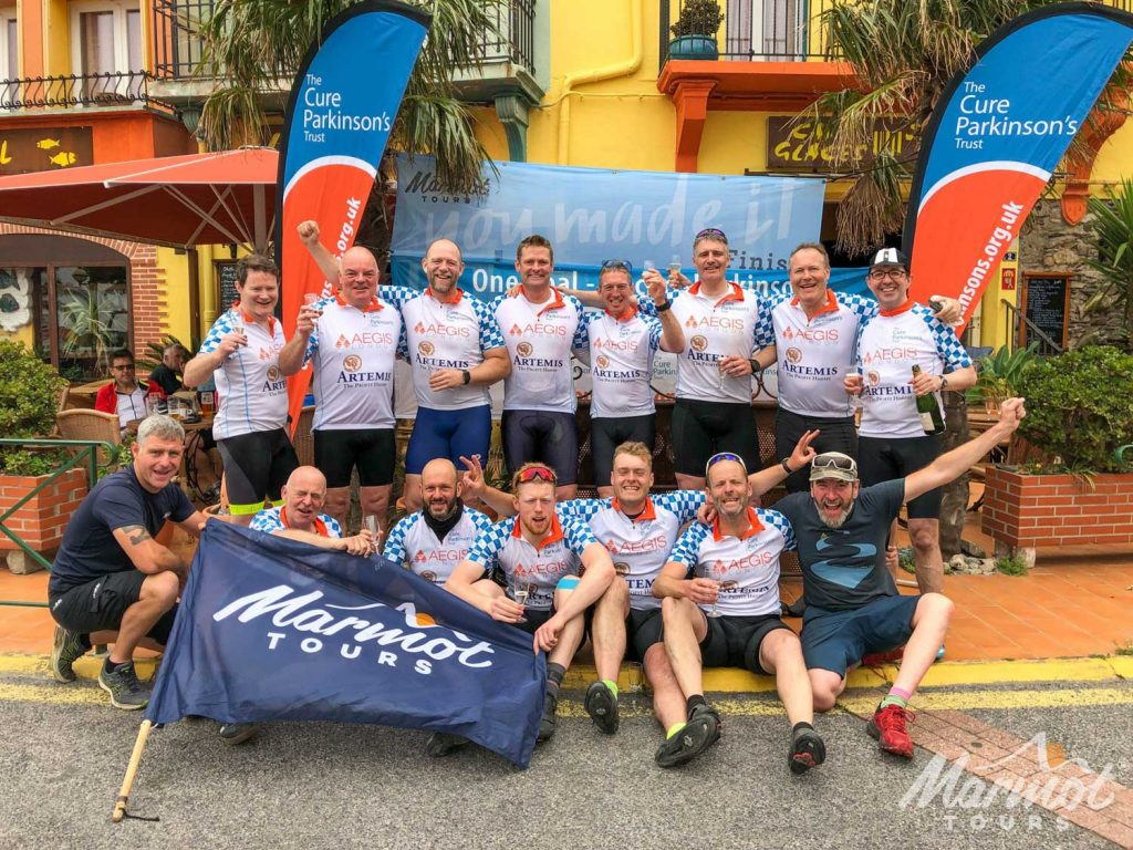 Celebrations at the end of the Cure For-Parkinsons-Trust-Raid Pyrenean with Marmot Tours 2019