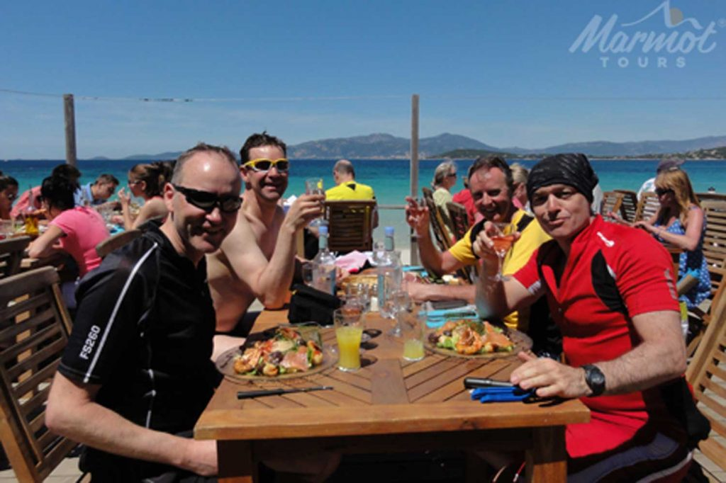 Lunch by the sea on Marmot Tours Raid Corsica cycling challenge