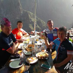 Group of Cyclists in Tenerife - Enjoying lunch in Masca