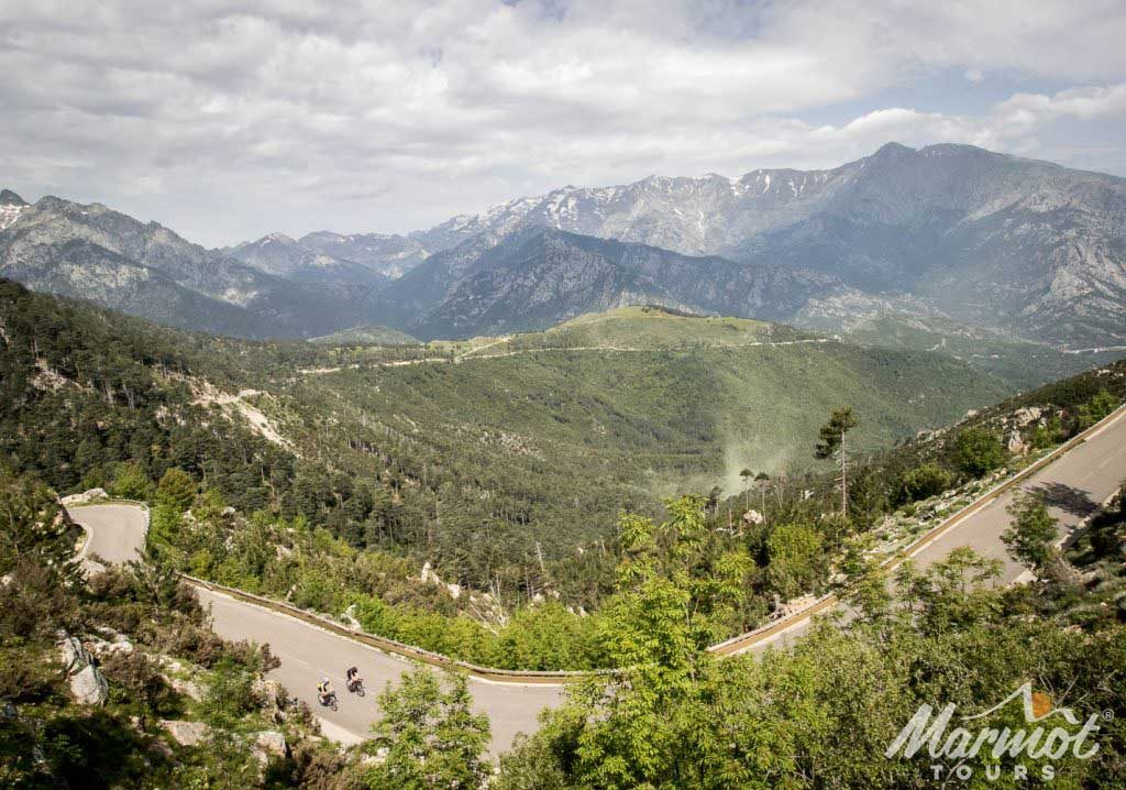 The jaw dropping scenery of the Col de Sorba on Marmot Tours Raid Corsica road cycling holiday