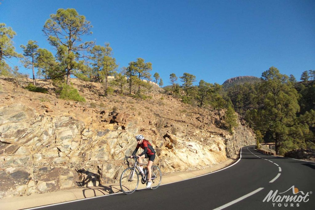 Female cyclist cycling in sun in Tenerife with Marmot Tours road cycling holidays