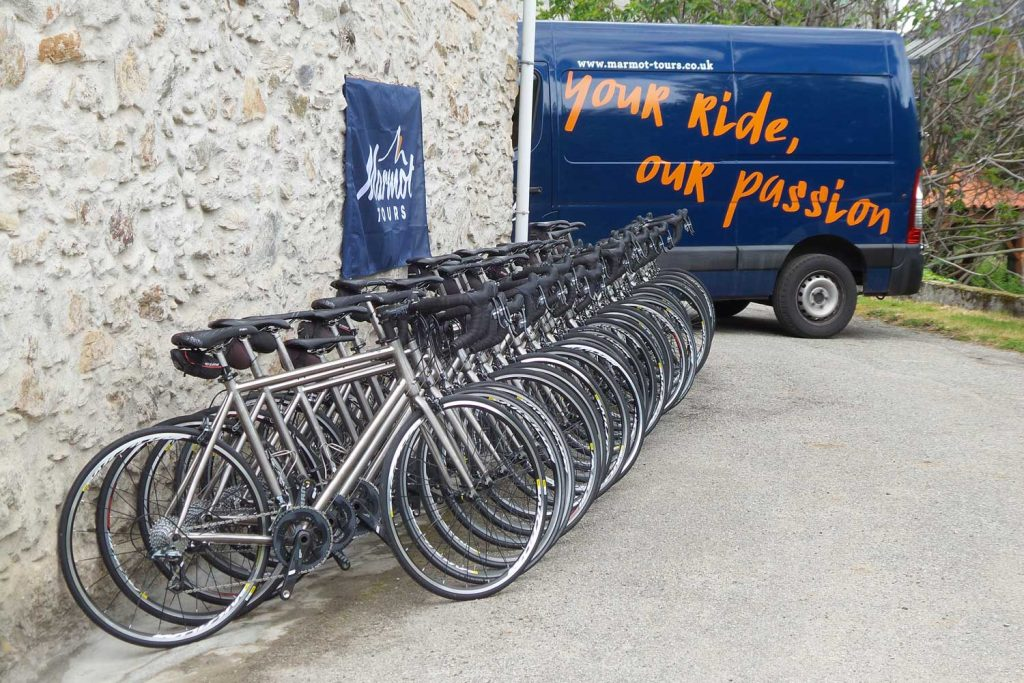 Fleet of hire bikes on Marmot Tours guided road cycling  holidays