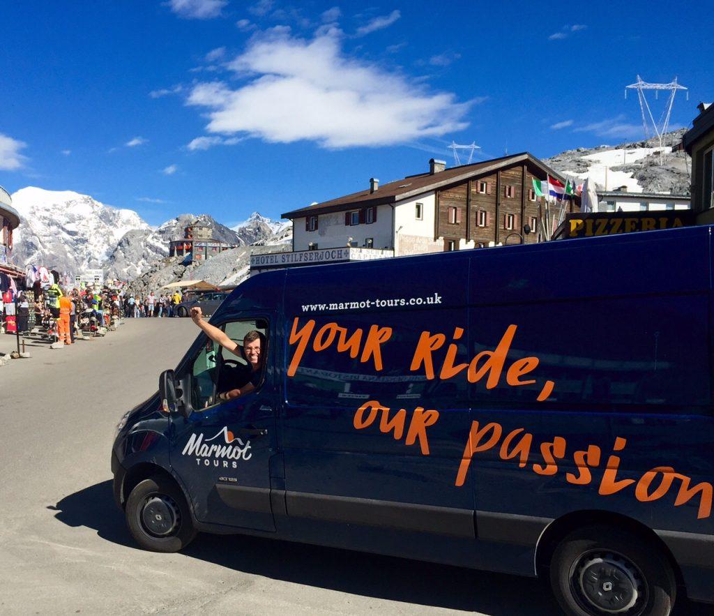 James Thompson driving Marmot Tours van