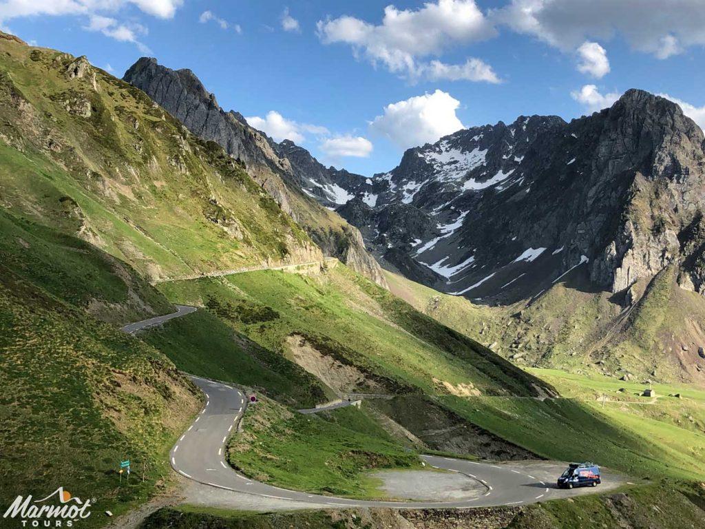 Marmot Tours van on Tourmalet Raid Pyrenean cycling challenge