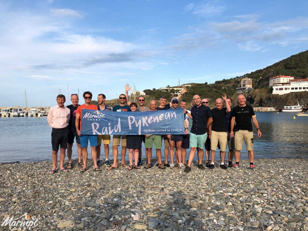Celebrating completing Raid Pyrenean cycling challenge with Marmot Tours