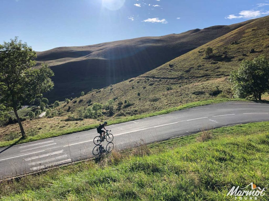 Cyclist on Peyresourde Raid Pyrenean cycling challenge
