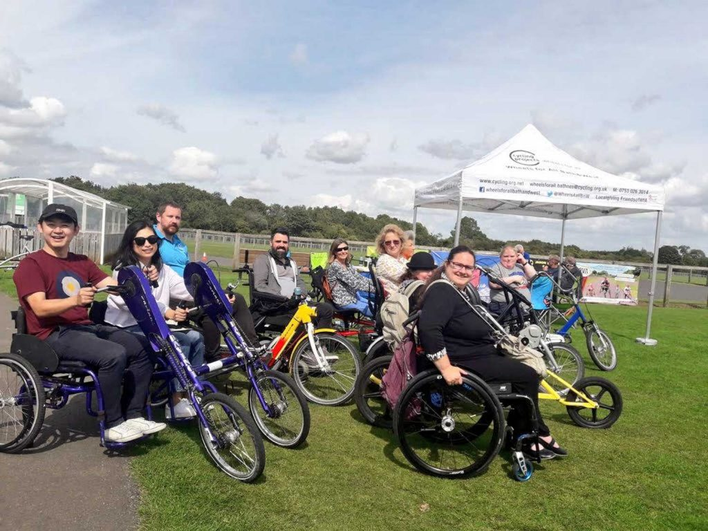 Marmot Tours charity Bath Wheels for All users on adapted bicycles