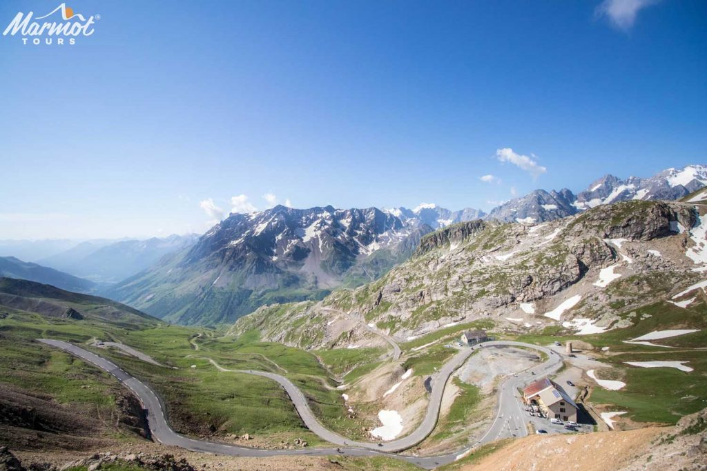 Breathtaking view of Galibier Marmot Tours road cycling holiday French Alps