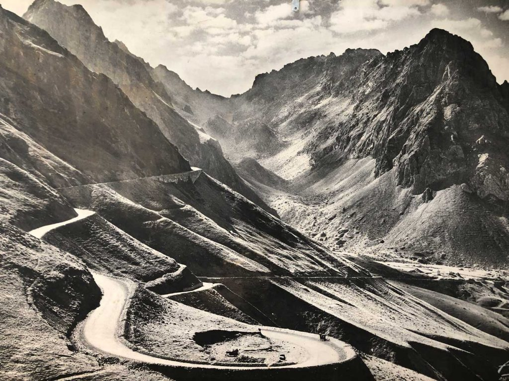 Vintage photo of Tourmalet on Raid Pyrenean road cycling challenge