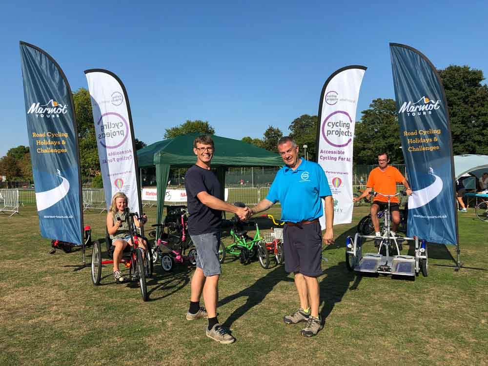 James Thompson Marmot Tours supporting Cycling Projects Wheels for All initiative