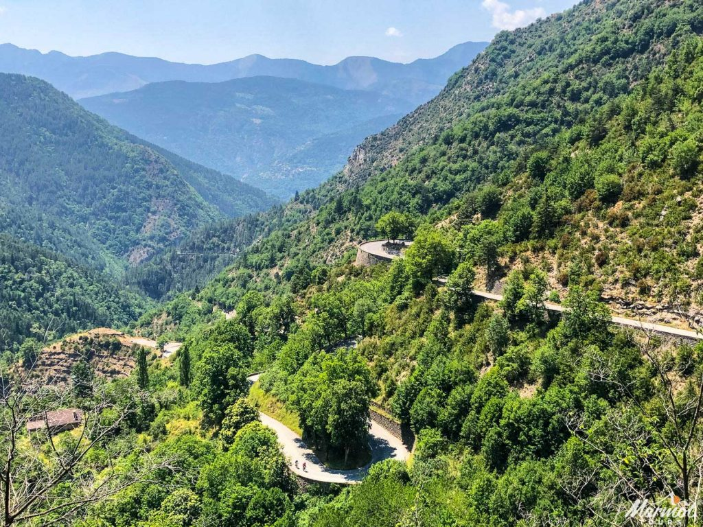 Switchbacks on the Col de Turini on Marmot Tours road cycling holiday in the Southern Alps