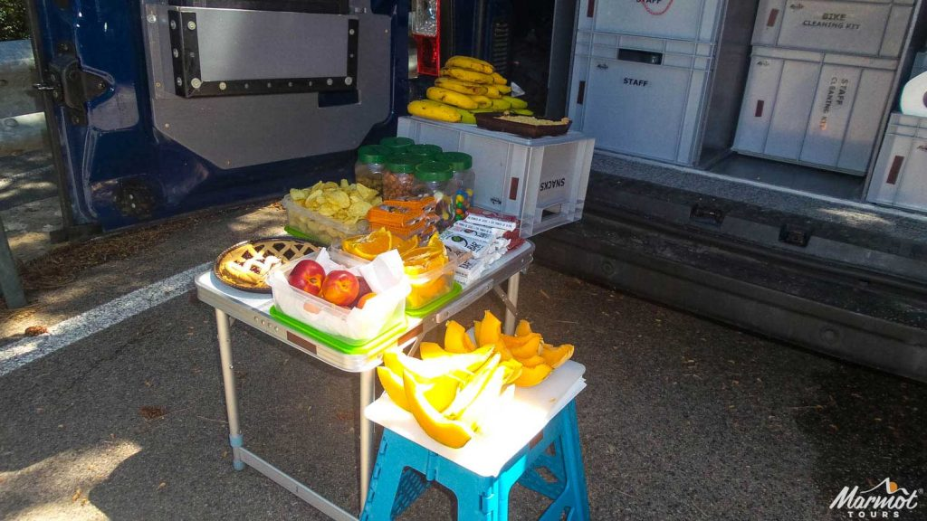 Great snacks provided by Marmot Tours on their road cycling holidays in Europe