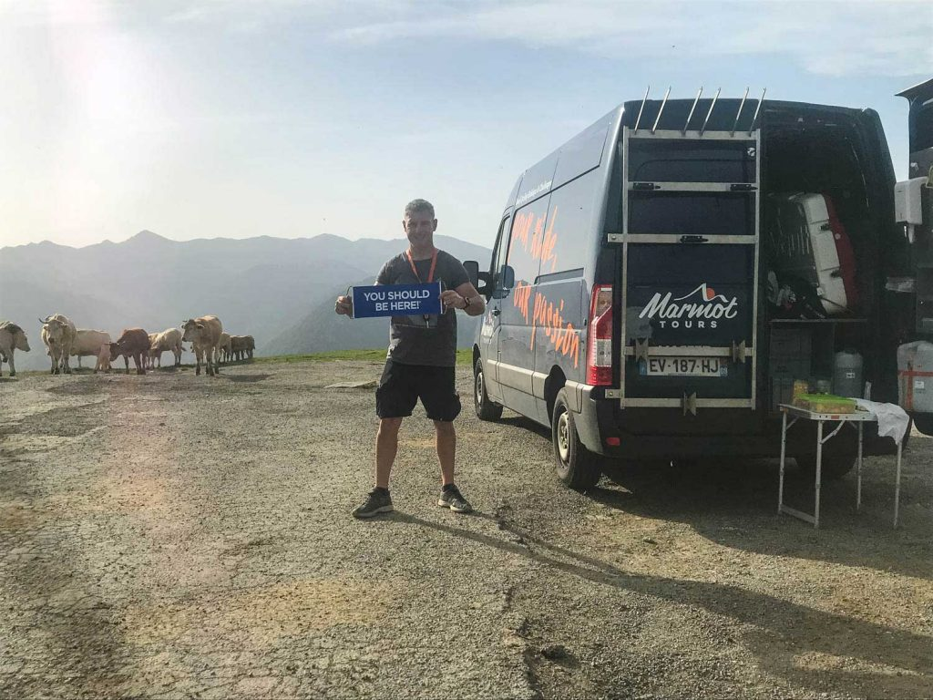 Marmot Tours road cycling guide with support van in French Pyrenees