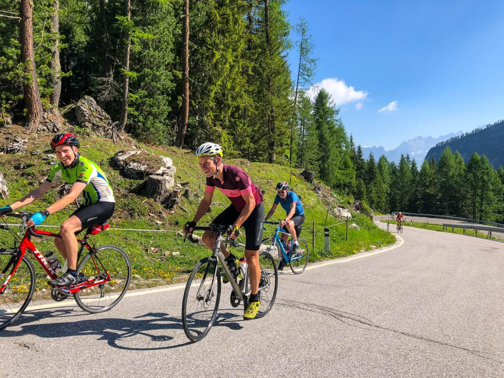 Group of cyclists on Marmot Tours European road cycling holiday in the Alps