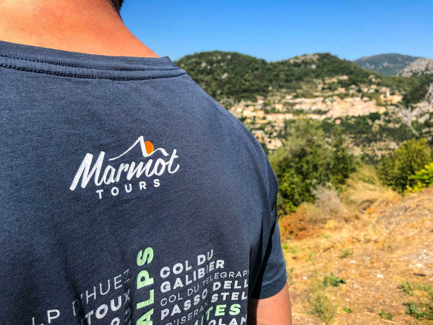 Marmot Tours European cycling holidays guide showing reverse of team t shirt