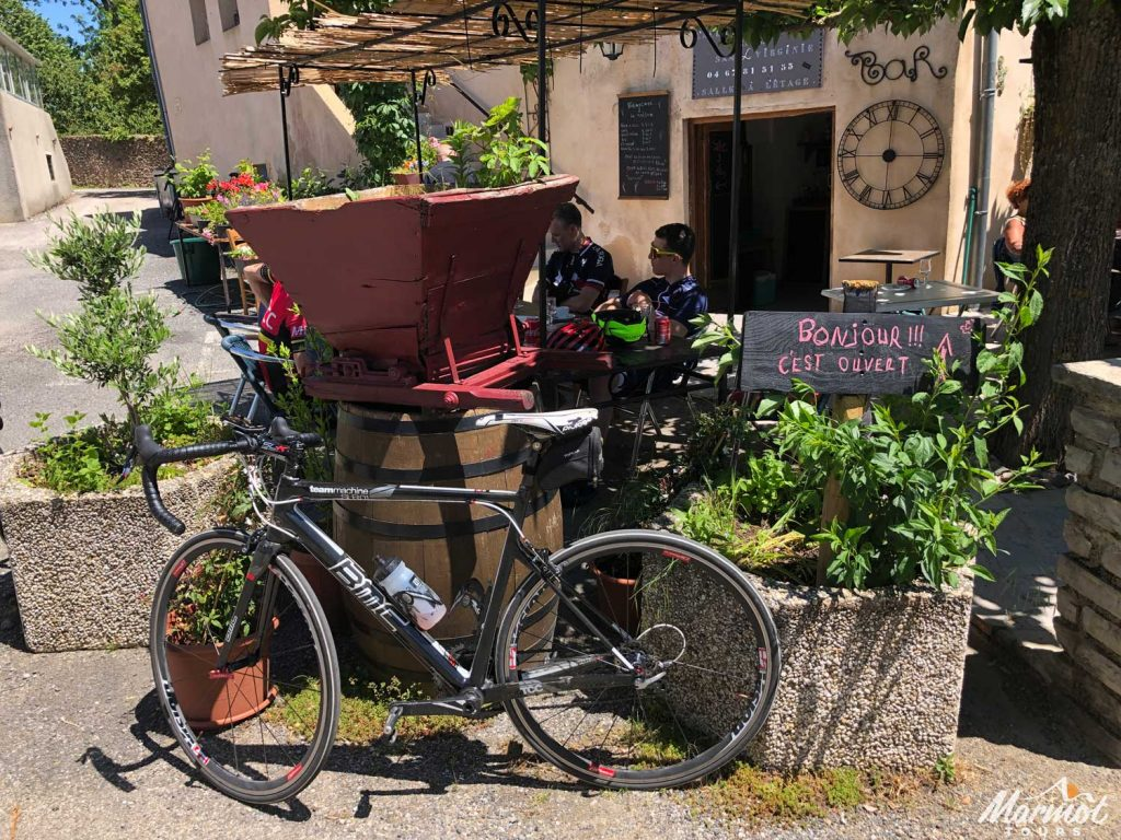 Vintage bicycle outside French restaurant on Marmot Tours guided cycling holidays in France