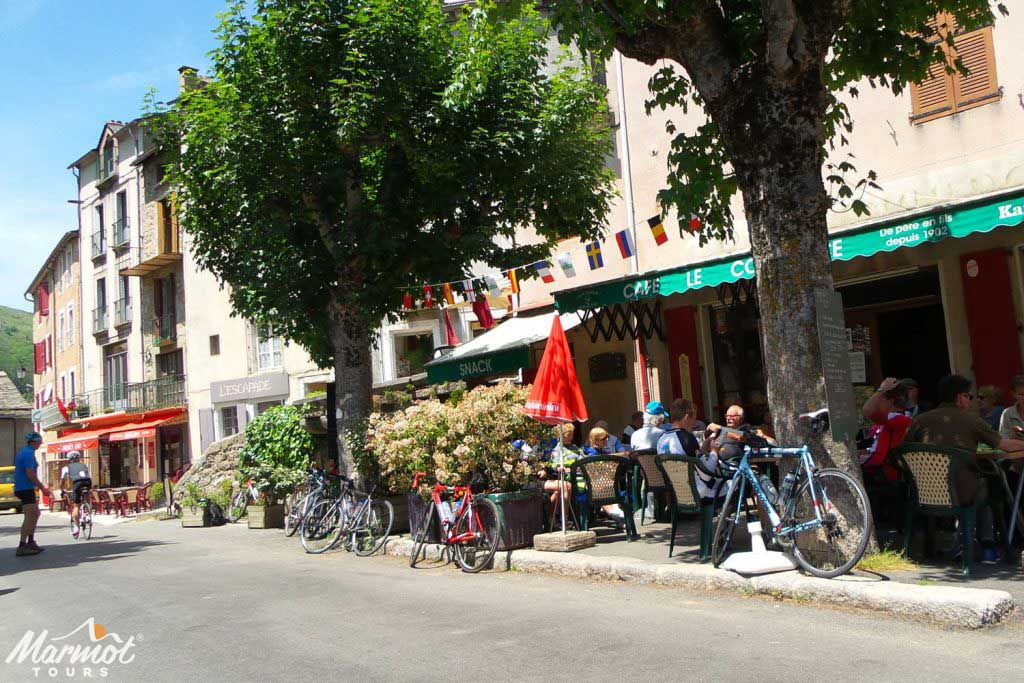 Cafe on Marmot Tours French road cycling holiday in the Cevennes and Ardeche