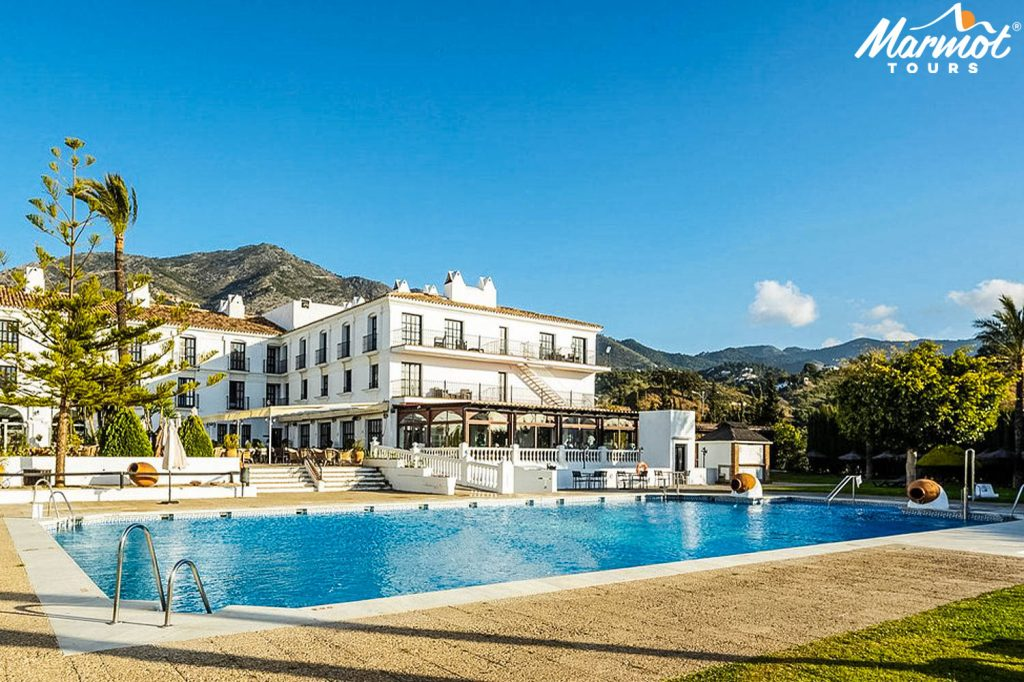 Hotel pool on guided cycling holiday Andalusia Spain with Marmot Tours
