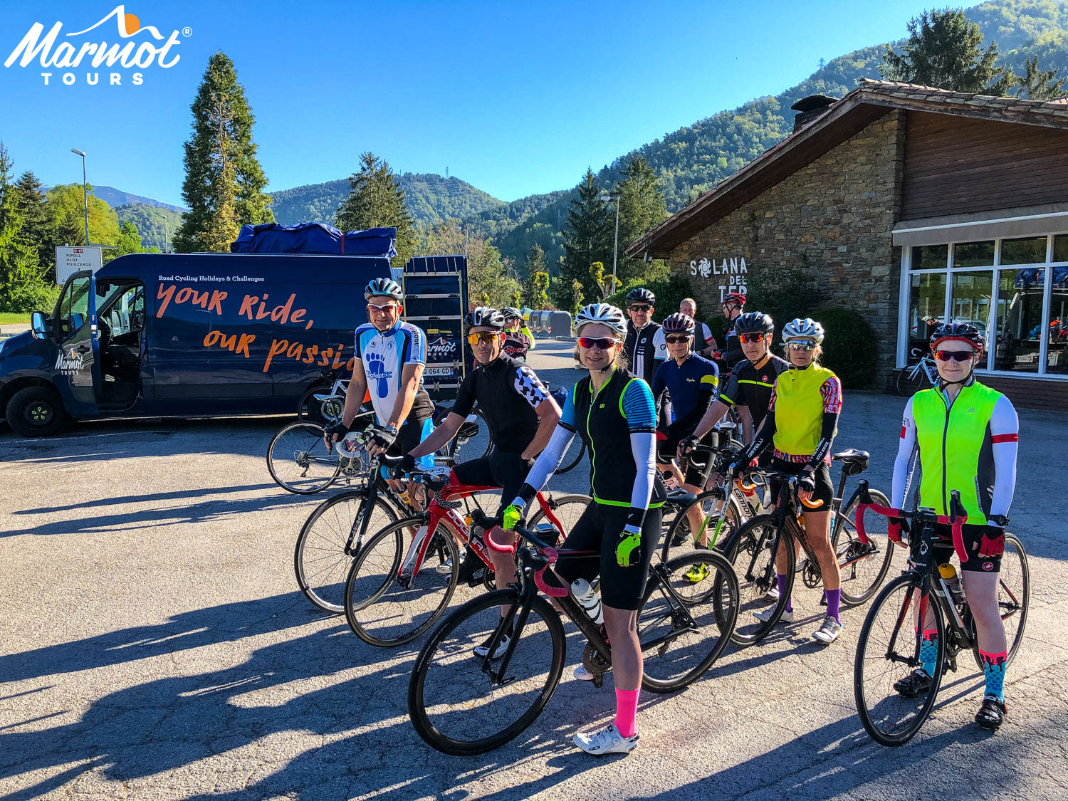 Group of cyclists on Marmot Tours road cycling holiday in Catalonia