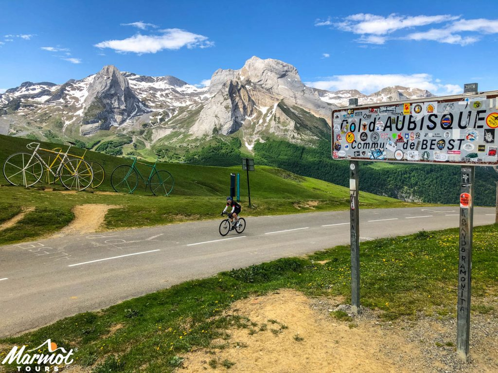 Cyclist on Col d'Aubisque on Marmot Tours supported Raid Pyrenean cycling challenge