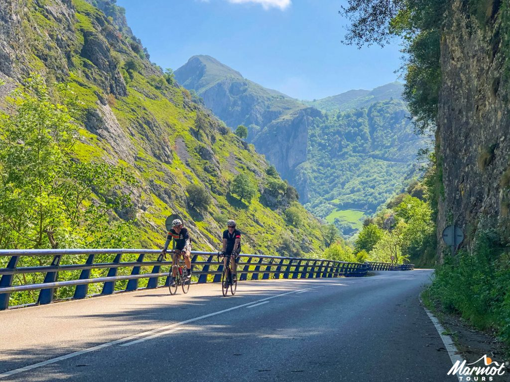 Two cyclists in Picos Northern Spain on Marmot Tours guided cycling holiday Spain