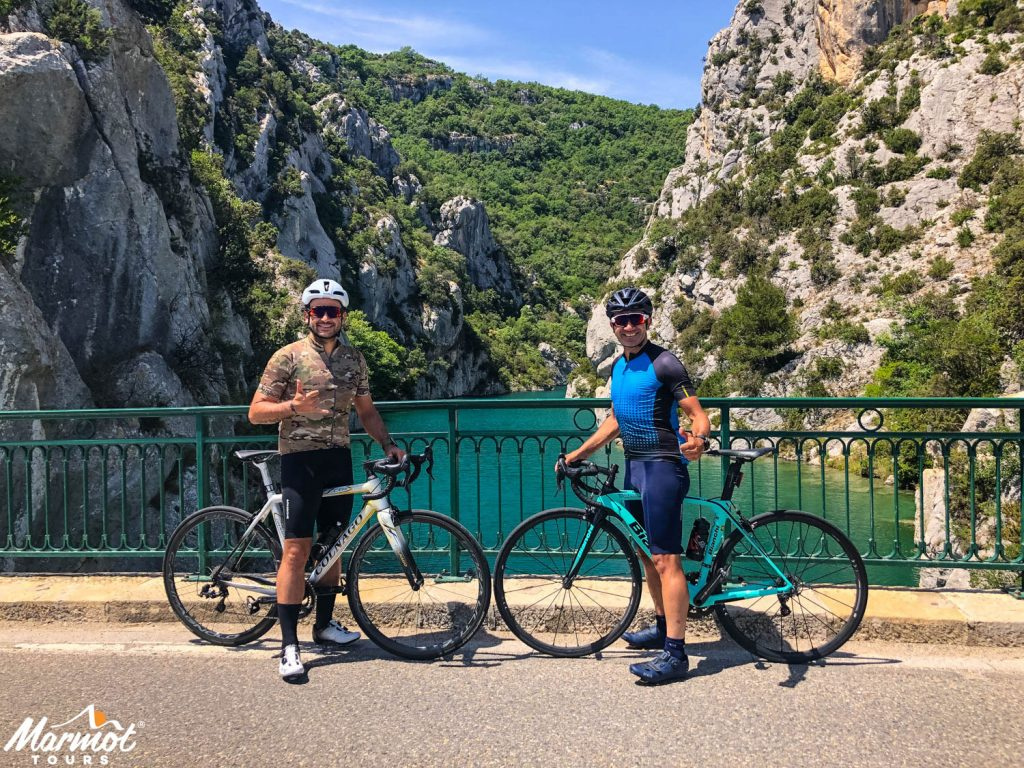 Two cyclists in Verdon Gorge on Marmot Tours guided cycling holiday in Provence