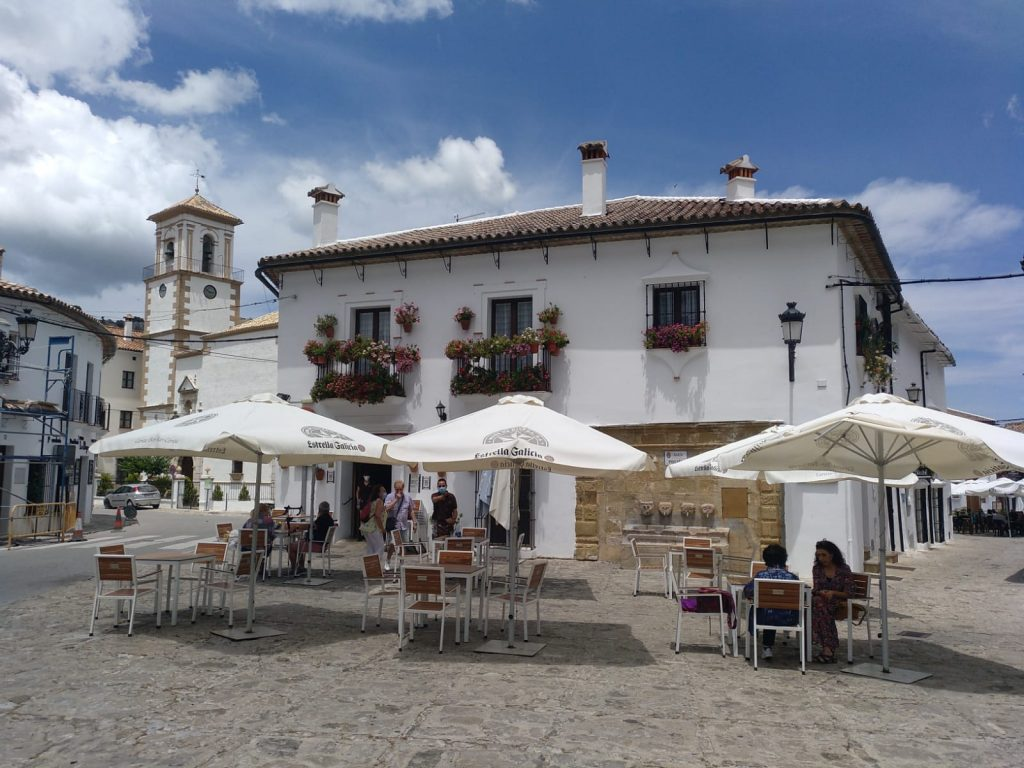 Restaurant in square in Andalusia on Marmot Tours guided cycling holiday in Spain